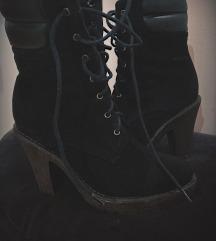 Zimski črni semiš škornji s peto