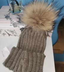Zimska kapa z cofkom pravo krzno