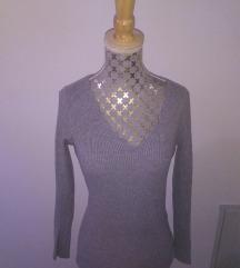 Siv rebrast pulover