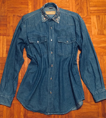 Jeans daljša srajca s čudovitim ovratnikom L/40