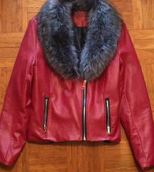 Rdeča jakna s krznom / umetno usnje M/L