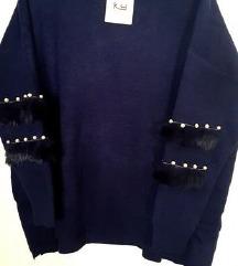 NOV pulover s perlicami