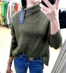 ZNIŽ.Nov olivno zelen pulover