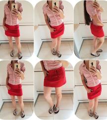 Bershka rdeče jeans mini krilo št. 38