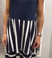 Modra črtasta poletna oblekica UNI.