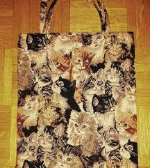 Platnena vrečka z vzorcem mačk