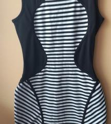 Obleka črtasta (belo-črna) S