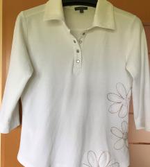 Bela bombažna majica z ovratnikom