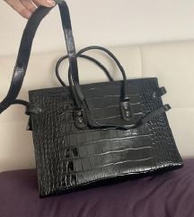 Črna usnjena torbica