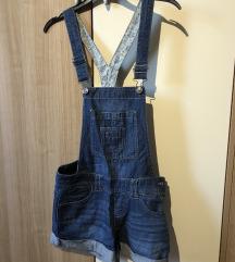 Kratke hlače jeans z naramnicami