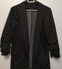 Črni suknjič z belimi pikami