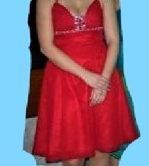 Svečana rdeča maturantska obleka s kristački