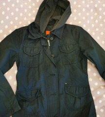 Modra dežna jakna s kapuco