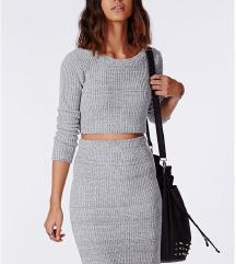 Siv komplet (pulover in krilo)