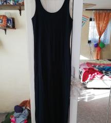 Temno modra dolga obleka