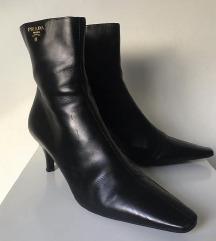 vintage Prada usnjeni škornji z visoko peto