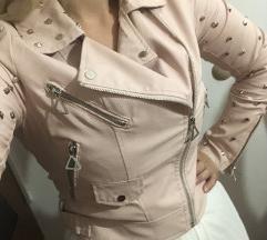 Roza usnjena jakna