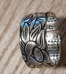 Tibetanski prstan SREČE-srebrn, Lotus