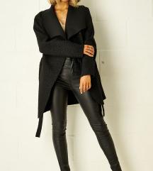 Črn krajši waterfall plašček/jaknica; S-M velikost