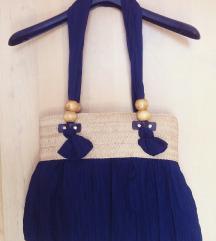 Modra pletena torbica