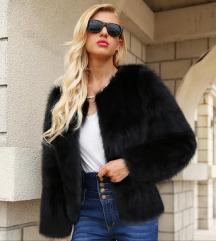 NOVA črna faux fur krznena jakna