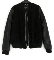 ZNIŽ.Leather wool črn bomber