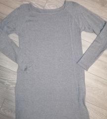 Srebrno-sivi daljši pulover/tunika