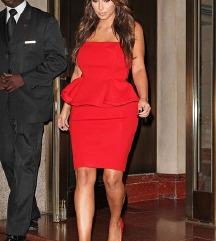Rdeča peplum oblekica