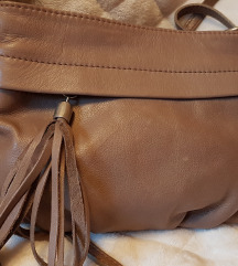 Rjava torbica s cofkom, pravo usnje
