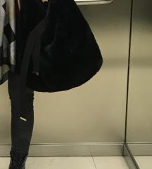 Velika crna hobo krznena torba