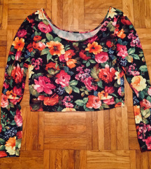 Rožasta crop top majica M