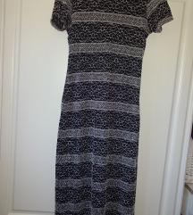 Dolga črno bela obleka Wallis, dvoplastna