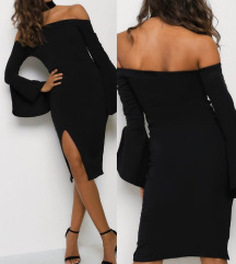 Elegantna črna obleka s širokimi rokavi, oprijeta
