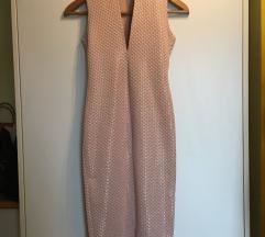 nude pink midi obleka