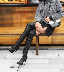 NOVI Sexy črni over knee usnjeni škornji s peto