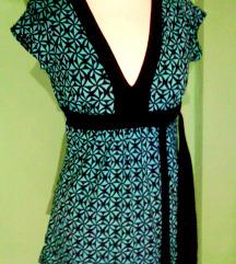 modro črna etno poletna majica,S