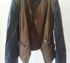 Kratka jakna z usnjenimi rokavi