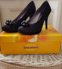 Graceland črni satenasti elegantni salonarji