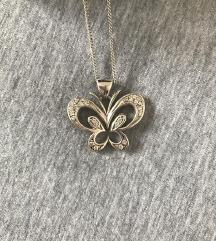 Pravo srebro: verižica + metuljček