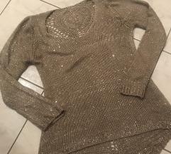 Rjav blescicast pulover