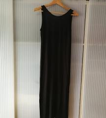 Dolga črna obleka z odprtim hrbtom