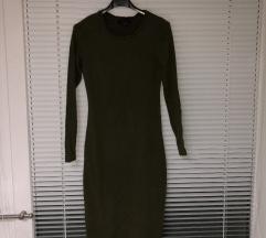Olivno zelena oprijeta obleka
