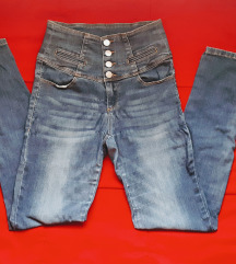 Jeans hlače visok pas S/36
