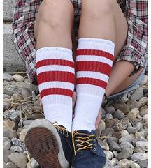 Retro visoke rdečo-bele nogavice (UNI velikost)