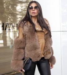 zimska jakna s pravim krznom in usnjem