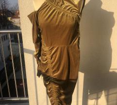 Oprijeta obleka zlato-gorčične barve