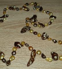 Ogrlica-pravi vodni biseri-zemeljske barve