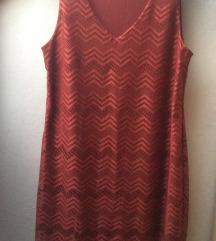 NOVA Rdeča obleka z resicami