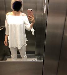 Bela srajca tunika s carmen iztezom 38