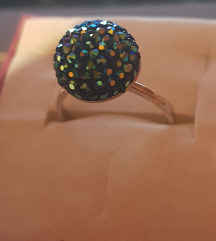 Srebrni prstan+swarovski (pravo srebro)vel.59